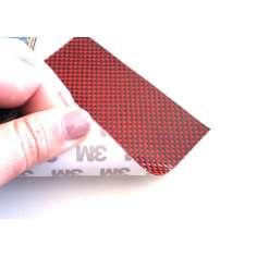 Muestra comercial lámina flexible de fibra de kevlar-carbono Tafetán (Color Negro y Rojo) con adhesivo 3M - 50x50 mm.