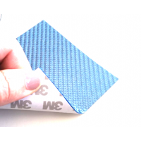 Commercial sample glass fiber flexible blade 1K Twill 2x2 (Color Blue) with 3M adhesive - 50x50 mm.