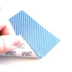 Muestra comercial lámina flexible de fibra de vidrio Sarga (Color Azul) con adhesivo 3M - 50x50 mm.