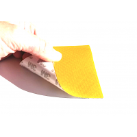 Commercial sample glass fiber flexible blade 1K Twill 2x2 (Yellow color) with 3M adhesive - 50x50 mm.