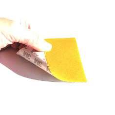 Muestra comercial lámina flexible de fibra de vidrio Sarga (Color Amarillo) con adhesivo 3M - 50x50 mm.