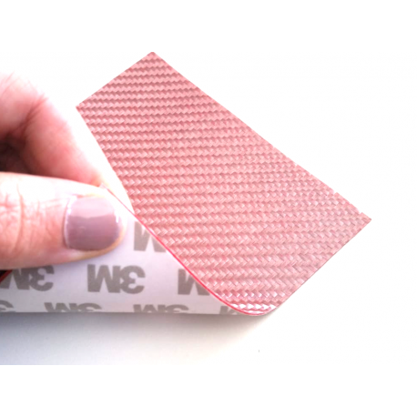 Commercial sample glass fiber flexible blade 1K Twill 2x2 (Pink color) with 3M adhesive - 50x50 mm.