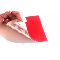 Commercial sample glass fiber flexible blade 1K Twill 2x2 (Red color) with 3M adhesive - 50x50 mm.