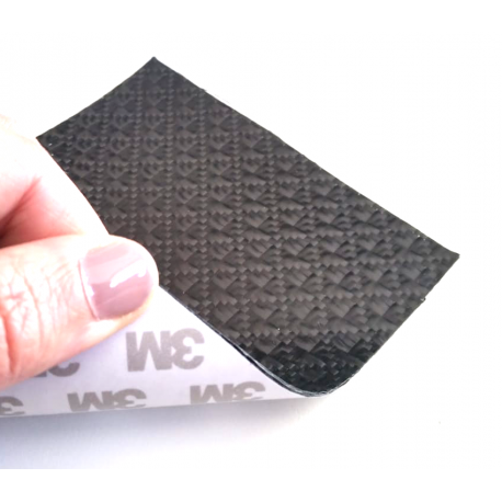 Commercial sample flexible carbon fiber sheet with lattice pattern (Black Color) with 3M adhesive - 50x50 mm.
