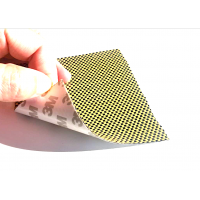 Commercial sample flexible sheet of kevlar-carbon fiber Taffeta (Color Black and Yellow) with 3M adhesive - 50x50 mm.