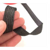 Commercial sample flat tape of carbon fiber 1K braided of 10 mm.
